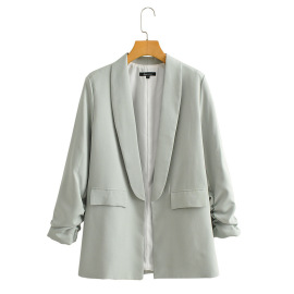 Women's Lapel Solid Color Suit Jacket Nihaostyles Clothing Wholesale NSXPF77237