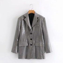 Women's Colorful Sequins Plaid Blazer Nihaostyles Clothing Wholesale NSXPF77239