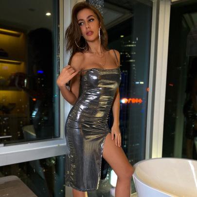 Women's Sling Tight Shiny Slit Dress Nihaostyles Clothing Wholesale NSXPF77240