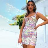 Women's Printing Slim-fit Strap Dress Nihaostyles Clothing Wholesale NSXPF77242
