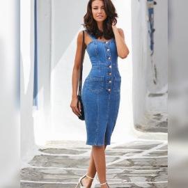 Women's Strap Mid-length Button Slim Short Sleeve Denim Dress Nihaostyles Clothing Wholesale NSDMS77249