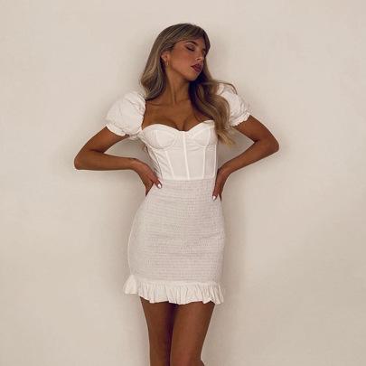 Women's Square Neck Slim Dress Nihaostyles Clothing Wholesale NSDMS77252