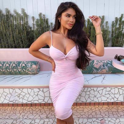 Women's Pleated V-neck Slim Open Back Strap Dress Nihaostyles Clothing Wholesale NSDMS77255
