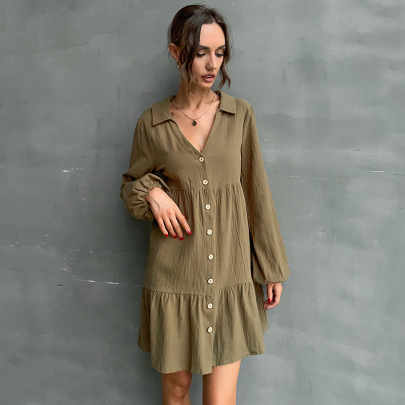 Solid Color Lapel Long Sleeve Shirt Dress Nihaostyles Clothing Wholesale NSYMR81587
