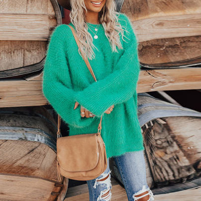 Pure Color Round Neck Long Sleeve Loose Top Nihaostyles Clothing Wholesale NSZH81590