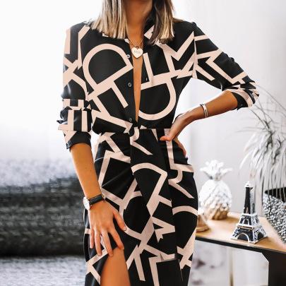 Print Long-sleeved V-neck Slit Dress Nihaostyles Clothing Wholesale NSZH81591