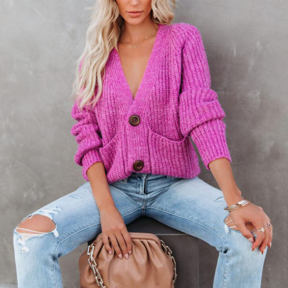 Solid Color V-neck Single-breasted Long-sleeved Sweater Nihaostyles Clothing Wholesale NSZH81596