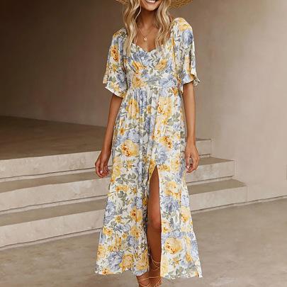 Printing V-neck Short-sleeved High-waist Slit Dress Nihaostyles Clothing Wholesale NSZH81600