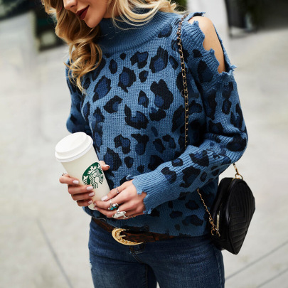 Leopard Print High Neck Long Sleeve Off-the-shoulder Sweater Nihaostyles Clothing Wholesale NSZH81602