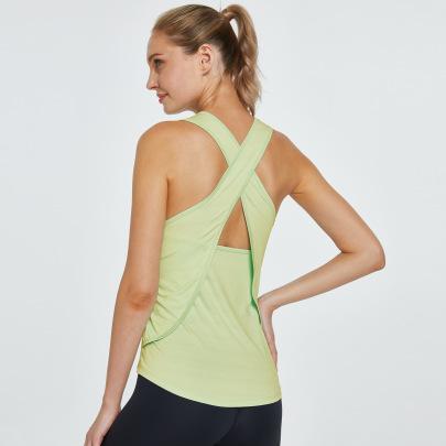 High Stretch Cross Back Strap Sleeveless Yoga Blouse Nihaostyles Clothing Wholesale NSZLJ81652