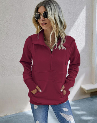 Pure Color Zipper Loose Long Sleeve Pullover Hoodie Nihaostyles Clothing Wholesale NSMDF81659