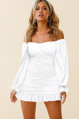 Solid Color Long-sleeved Ruffled Off-the-shoulder Neck Nihaostyles Clothing Wholesale NSMDF81660