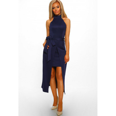 High Neck Off-the-shoulder Irregular Dress Nihaostyles Clothing Wholesale NSXYZ81665