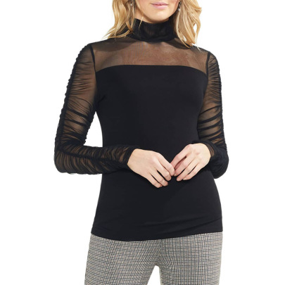 Solid Color High Collar Net Yarn Long-sleeved T-shirt Nihaostyles Clothing Wholesale NSXYZ81671
