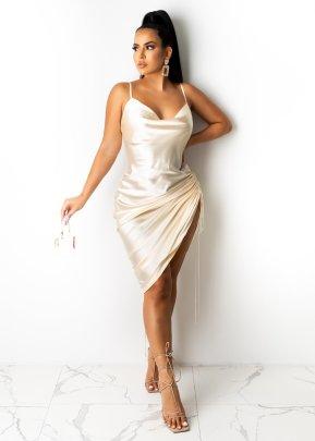 V-neck Bilateral Drawstring Sling Dress Nihaostyles Clothing Wholesale NSTYF81676