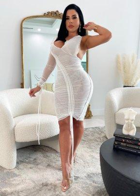 V-neck Slim Drawstring Dress Nihaostyles Clothing Wholesale  NSTYF81678