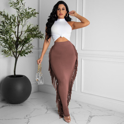 Solid Color Fringe Skirt Nihaostyles Clothing Wholesale NSTYF81679