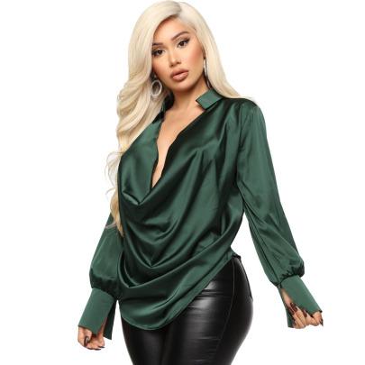 Long-sleeved V-neck Satin Blouse Nihaostyles Clothing Wholesale NSYMA81684