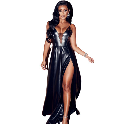 PU High Elastic Sling V-neck High Slit Dress Nihaostyles Clothing Wholesale NSYMA81691