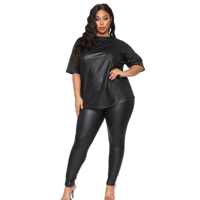 Plus Size Solid Color Leather Short-sleeved Top Slim Trousers Lounge Set Nihaostyles Clothing Wholesale NSYMA81695