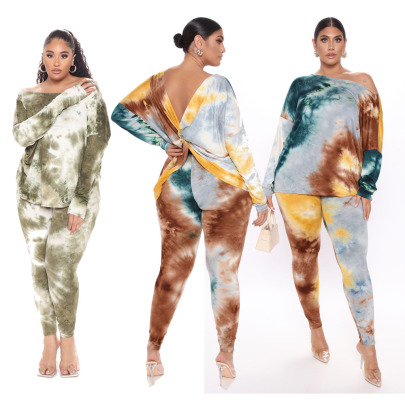 Plus Size Printed Tie-dye Halter Twisted Two-piece Set Nihaostyles Clothing Wholesale NSYMA81696