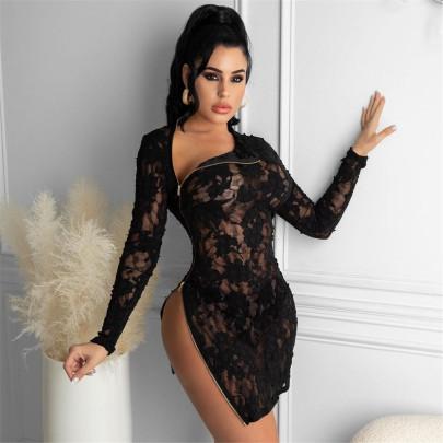 Lace Zipper Slit Dress Nihaostyles Clothing Wholesale NSYMA81697