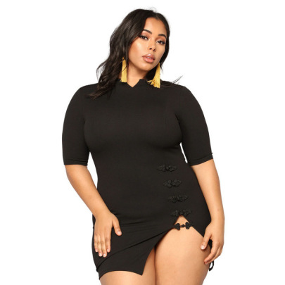 Plus Size Short-sleeved Disc Button Solid Color Dress Nihaostyles Clothing Wholesale NSYMA81699