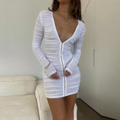 Single-breasted Mesh Long-sleeved V-neck Dress Nihaostyles Clothing Wholesale NSFD81707