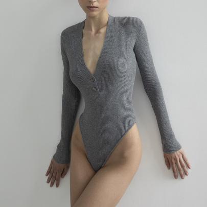 Cotton Long Sleeve V-neck Jumpsuit Nihaostyles Clothing Wholesale NSFD81715