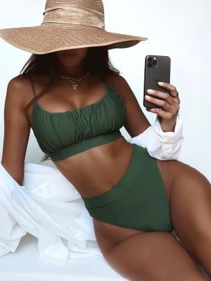 Solid Color High Waist Tankini Nihaostyles Clothing Wholesale NSDA81716