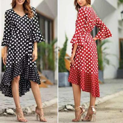 V-neck Polka Dot Stitching Ruffled Dress Nihaostyles Wholesale Clothing NSXIA83179