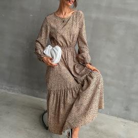 Women's Leopard Print Round Neck Long Sleeve Dress Nihaostyles Clothing Wholesale NSYYF77318