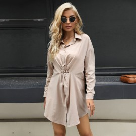 Women's Solid Color Lapel Twist Long-sleeved Dress Nihaostyles Clothing Wholesale NSYYF77326