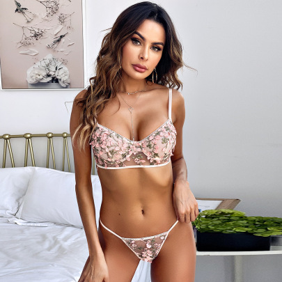 Women's Lace Embroidery Lingerie Set Nihaostyles Clothing Wholesale NSRBL77327