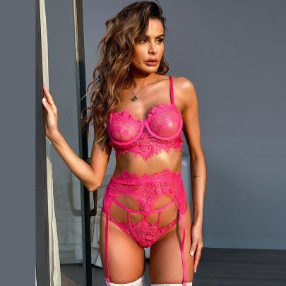 Women's Lace Three-piece Lingerie Set Nihaostyles Clothing Wholesale NSRBL77331