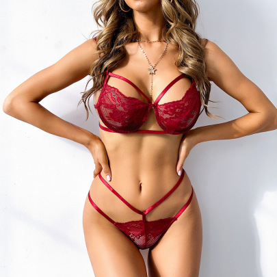 Women's Steel Ring Lace Bra And Pantie Lingerie Set Nihaostyles Clothing Wholesale NSRBL77333