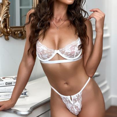 Women's Lace Pure White Underwear Suit Nihaostyles Clothing Wholesale NSRBL77347
