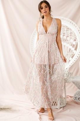 Women's V-neck Halter Tassel Sequined Strap Dress Nihaostyles Clothing Wholesale NSDMS77362
