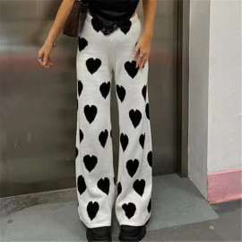 Women's High-waist Heart Shape Jacquard Wide-leg Knitted Pants Nihaostyles Clothing Wholesale NSXPF77368