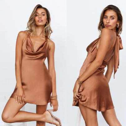 Women's Satin Lace Halter Dress Nihaostyles Clothing Wholesale NSXPF77377