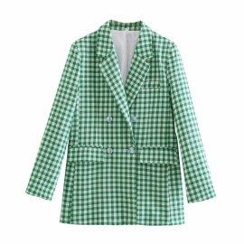 Women's Houndstooth Slim Blazer Nihaostyles Clothing Wholesale NSXPF77389