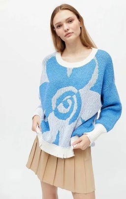 Women's Flower Jacquard Round Neck Long-sleeved Sweater Nihaostyles Clothing Wholesale NSXPF77397