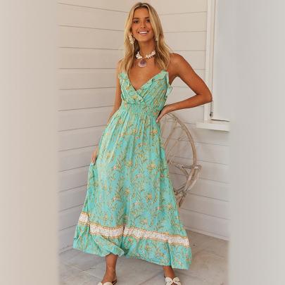 Women's Bohemian Print Ruffled Large Swing V-neck Strap Dress NSXPF77406