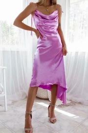 Women's Low-neck Irregular Satin Lace-up Strap Dress Nihaostyles Clothing Wholesale NSXPF77408