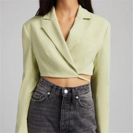 Women's Cross-wrapped Lace-up Short Blazer Nihaostyles Clothing Wholesale NSXPF77409