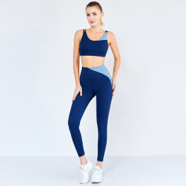 Women's Quick-drying High-elastic Sports Bra High-waist Pants Two-piece Yoga Suit Nihaostyles Clothing Wholesale NSSMA77410