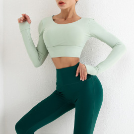 Back Hollow Long-sleeved Top High Waist Pants Two-piece Yoga Suit Nihaostyles Clothing Wholesale NSSMA77413