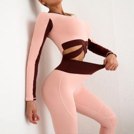 Women's Long Sleeves Top High Waist Pants Two-piece Yoga Suit Nihaostyles Clothing Wholesale NSSMA77414