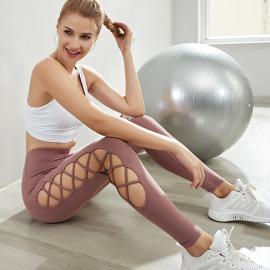 Women's High Waist Hollow Yoga Leggings Nihaostyles Clothing Wholesale NSSMA77417