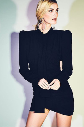 Women's Ribbon Pleated Long Sleeves Dress Nihaostyles Clothing Wholesale NSXPF77420